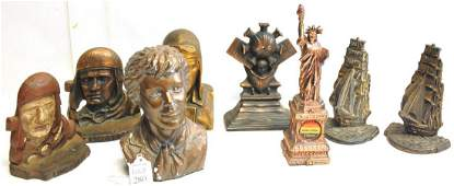 Collection of bust and bookends