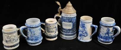7 pieces of Salt-Glazed stoneware
