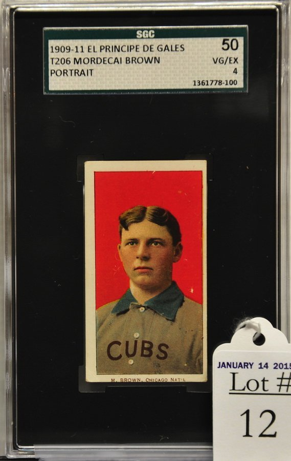 1909-11 T206 Mordecai Brown Portrait