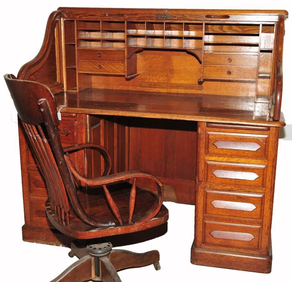 Oak Roll Top Desk by Derby Desk Company