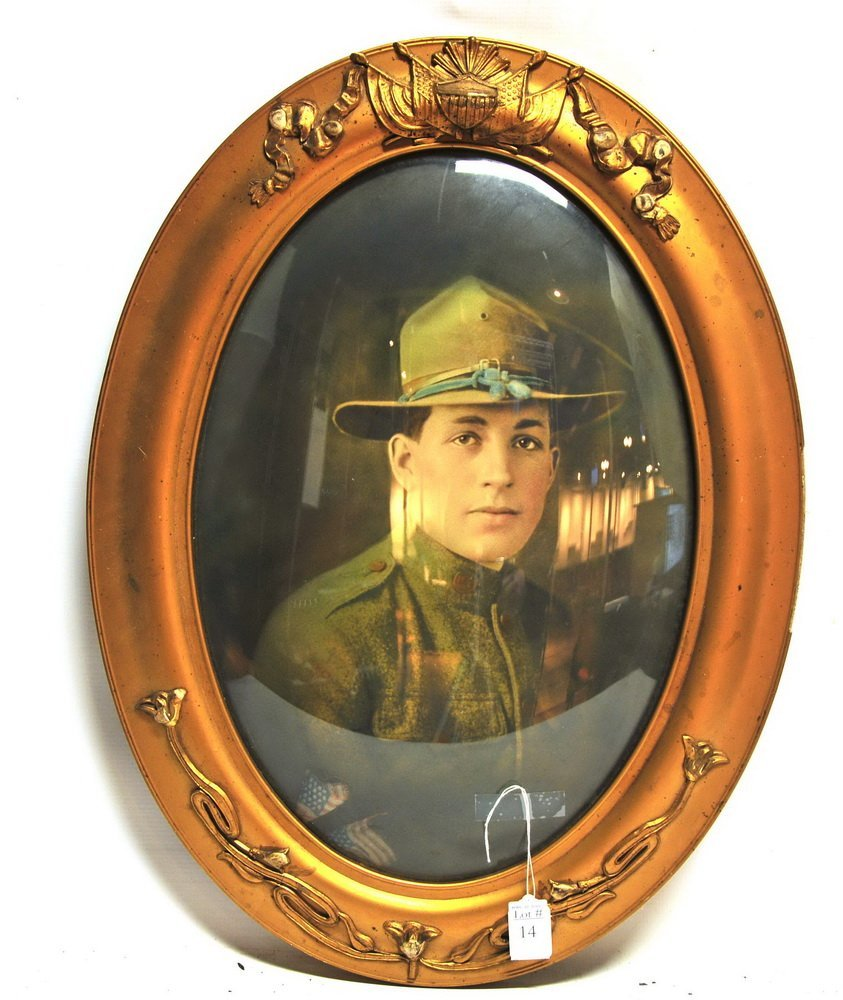 WWI Soldiers Photo in Bubble glass frame