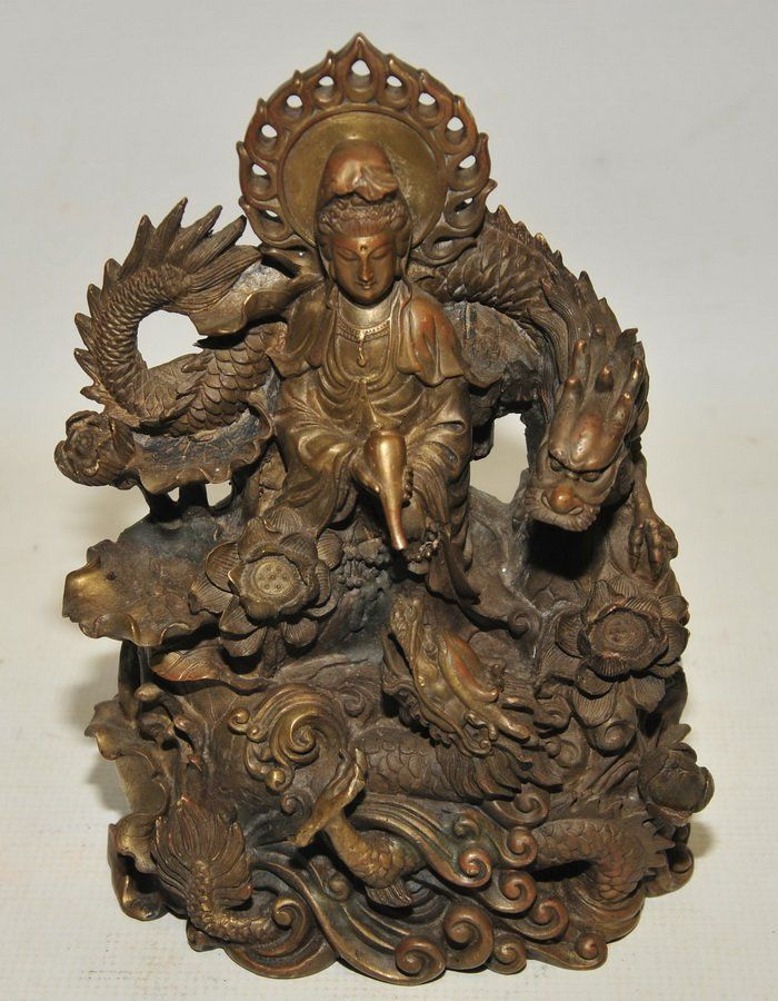 "10"" Antique Bronze Chinese Statue"
