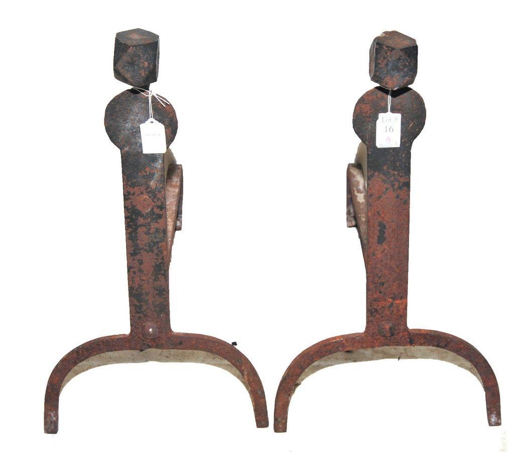 of antique spit hook andirons