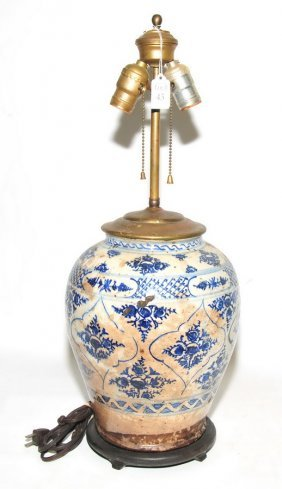 Antique Chinese Lamp Blue And White 24""