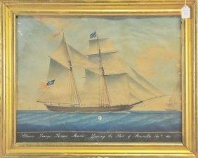Watercolor Of The Schooner Loango