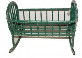 Hand Painted Baby Cradle In Old Green Paint 36""