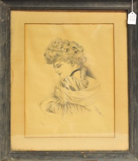 Portrait Drawing Of A Victorian Woman