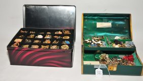 Two Jewelry Boxes Filled With Collection Of