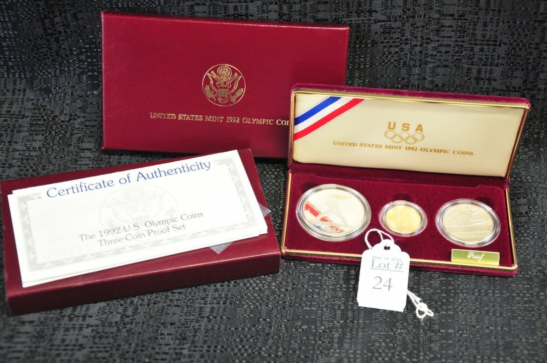 1992 Olympic 3 Coin Gold and Silver Proof Set