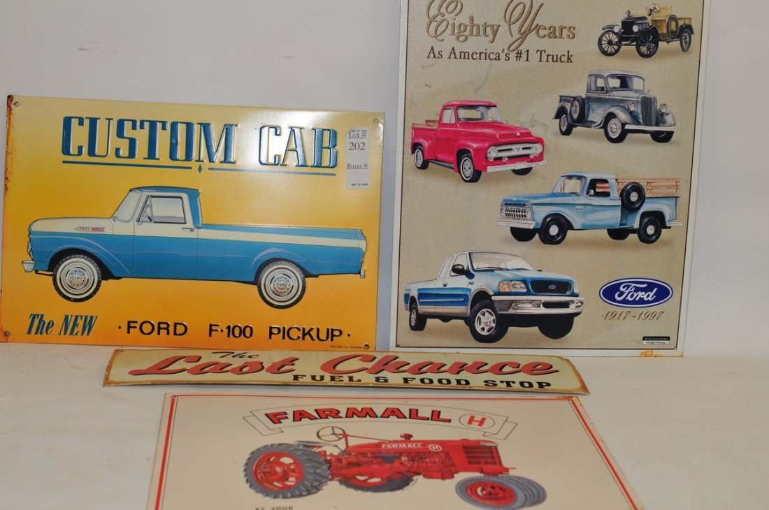 11 Modern Auto and Tractor Tin Signs