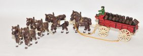 Cast Iron Budweiser Horse Wagon Toy