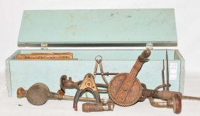 Wooden Tool Box Filled With Antique Tools