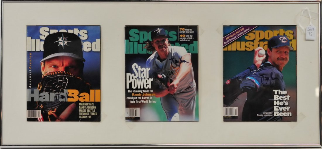 Three Framed Randy Johnson Signed Sports Magazines