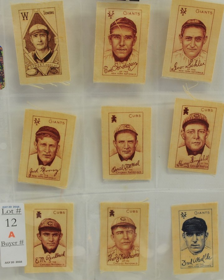 9 1910 Baseball Silks
