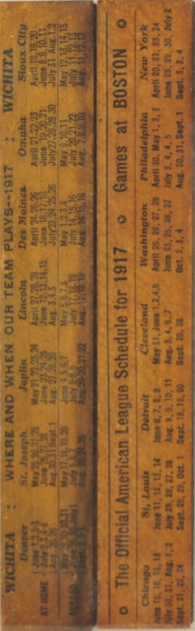 Two 1917 Red Sox Schedule Rulers