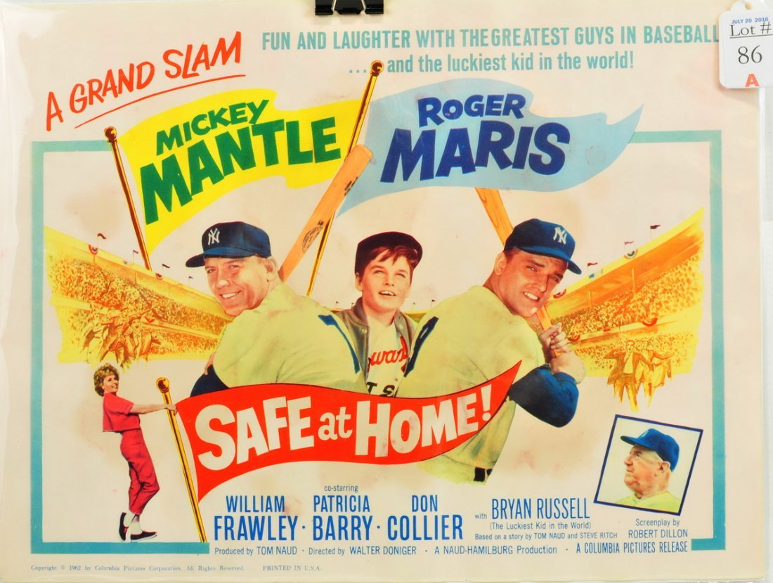 1962 Safe At  Home Ad Piece Mantle/Maris