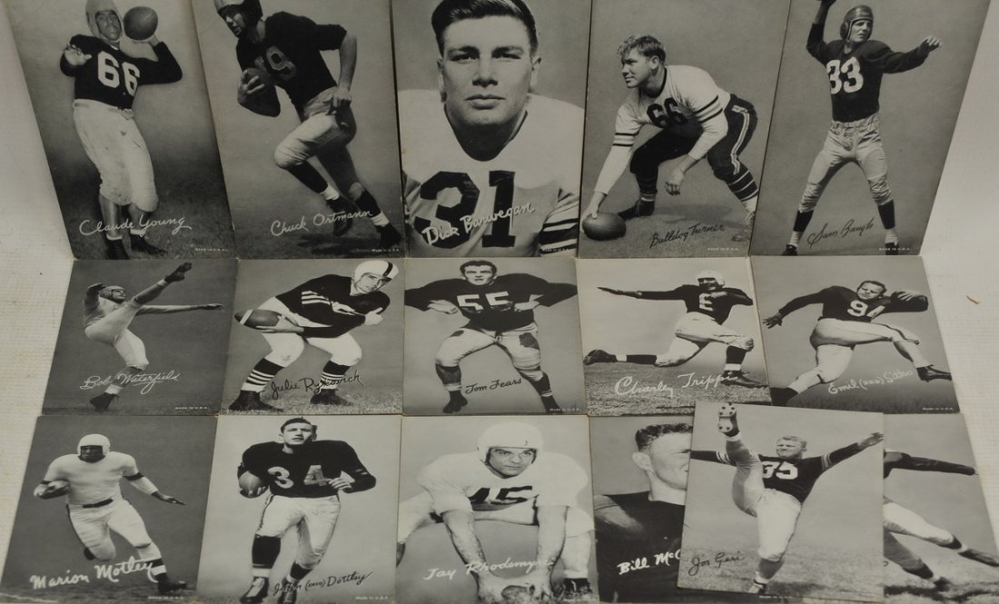 16 Old Exhibit Football Cards