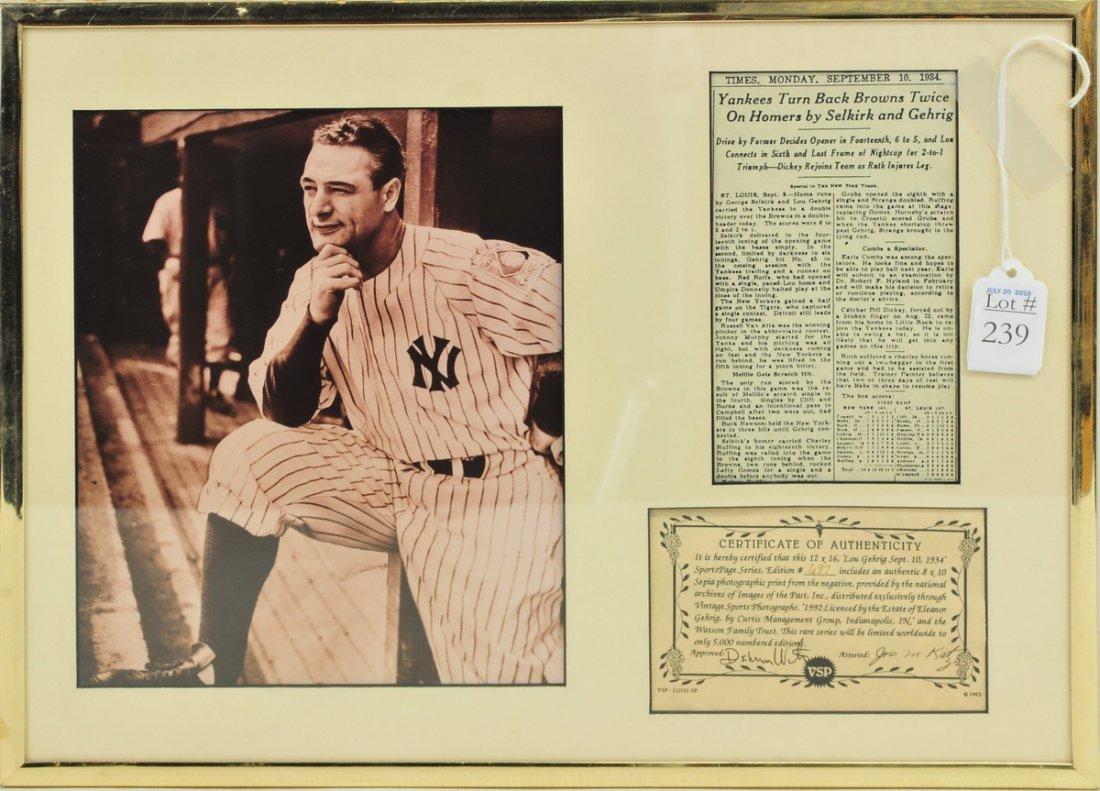 Sepia Print Photo Display of Lou Gehrig