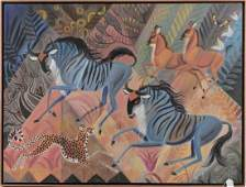 "Oil On Canvas by Dahlov Ipcar 1996 ""Blue Dance"""