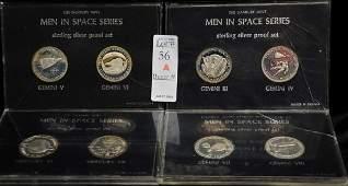 The Danbury Mint Men in Space Series Sterling Medals