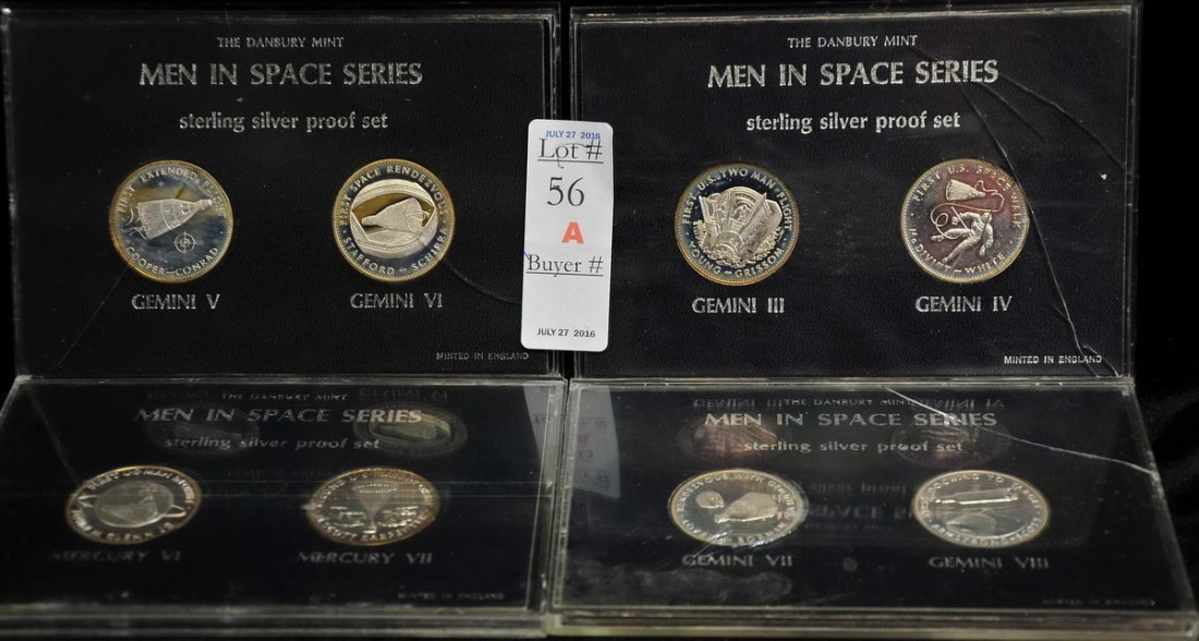 The Danbury Mint Men in Space Series Sterling Medals