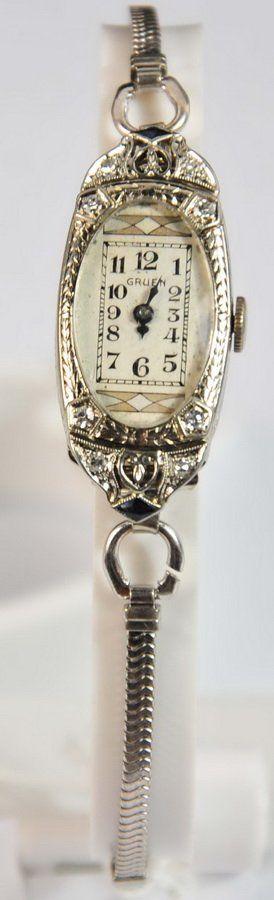 Ladies Gruen 14Kt. White Gold Art Deco Wrist Watch