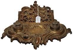 Bronze Victorian Inkwell Desk Set