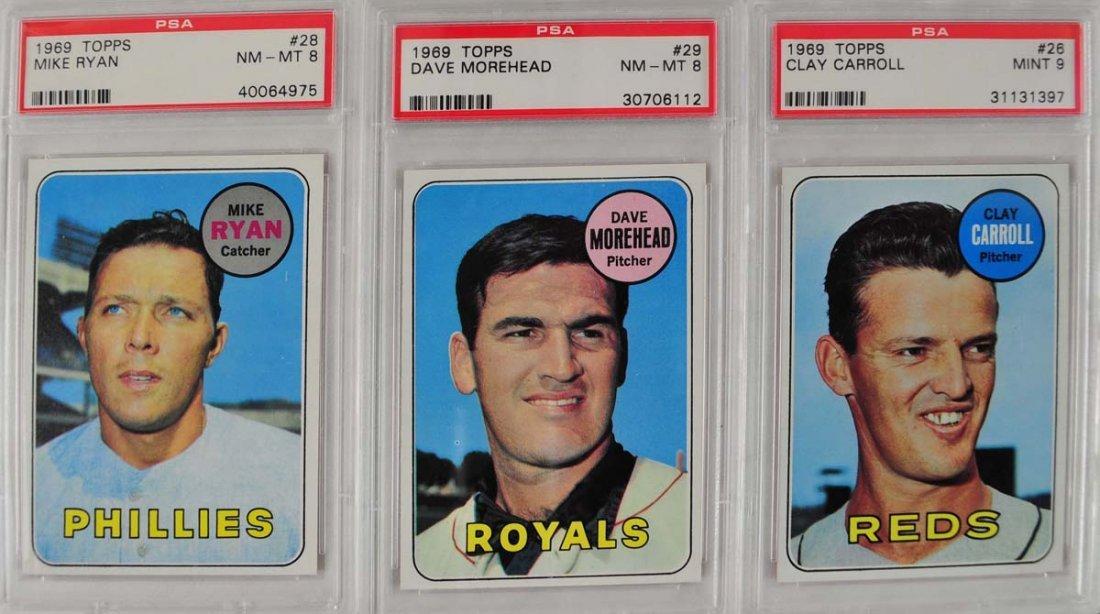 10 1969 Topps Baseball Cards PSA Graded Mint 9