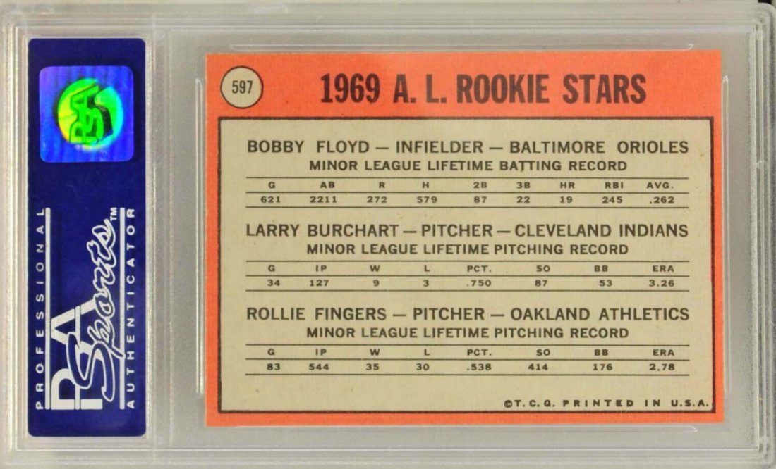 1969 Topps Rookie Rollie Fingers PSA Graded 8 - 2