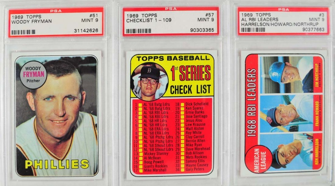 12 1969 Topps Baseball Cards PSA Graded Mint 9 - 3