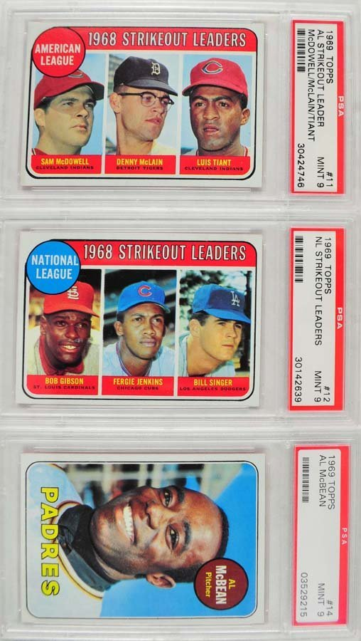 12 1969 Topps Baseball Cards PSA Graded Mint 9 - 7