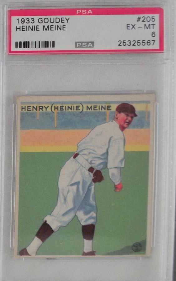 1933 Goudey Heinie Meine PSA 6