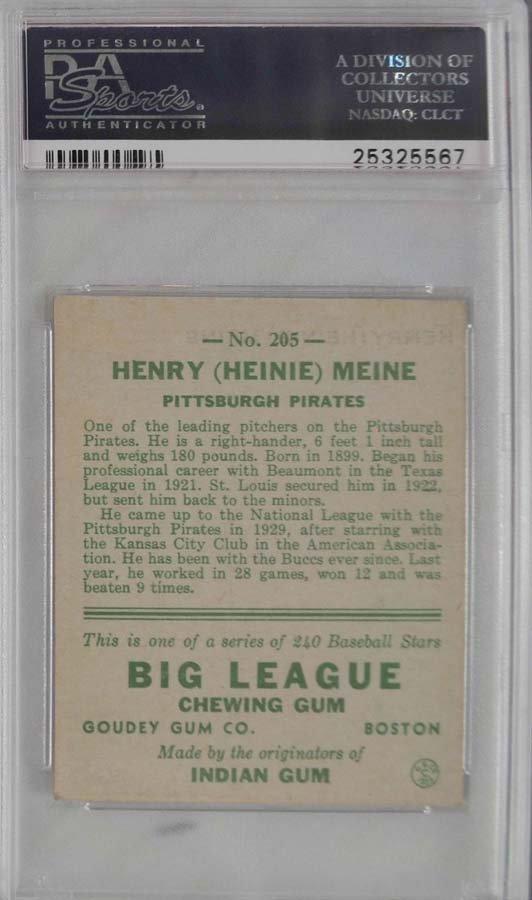 1933 Goudey Heinie Meine PSA 6 - 2