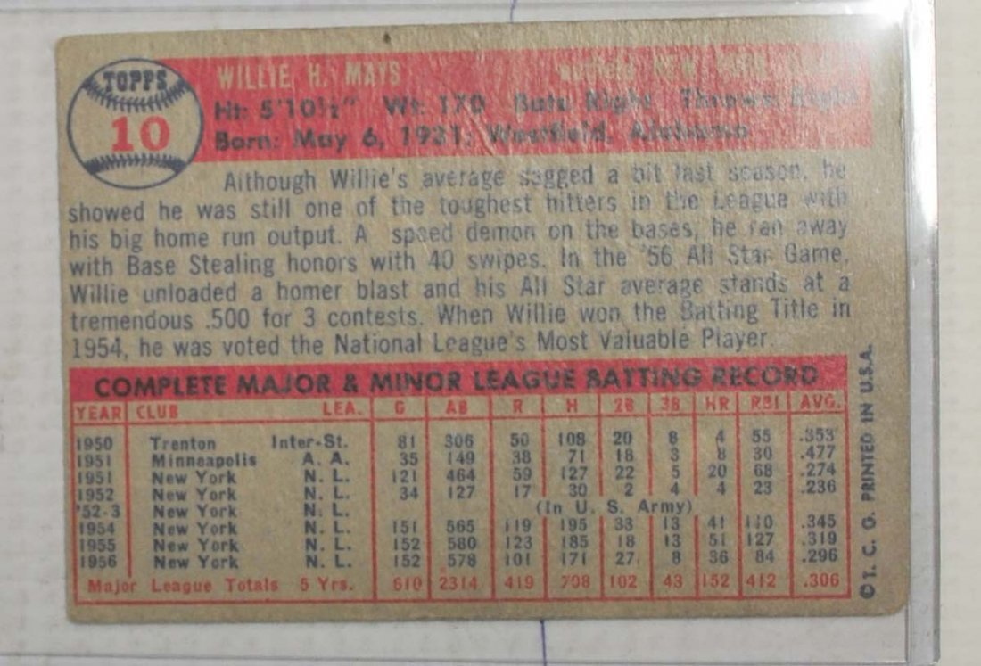 1957 Topps Willie Mays - 2