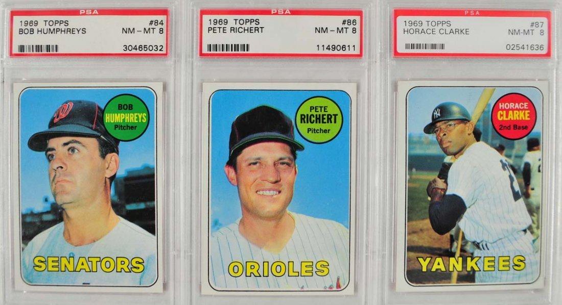 20 1969 Topps Baseball Cards PSA Graded 8 - 9