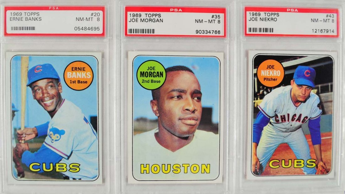11 1969 Topps Baseball Cards PSA Graded 8