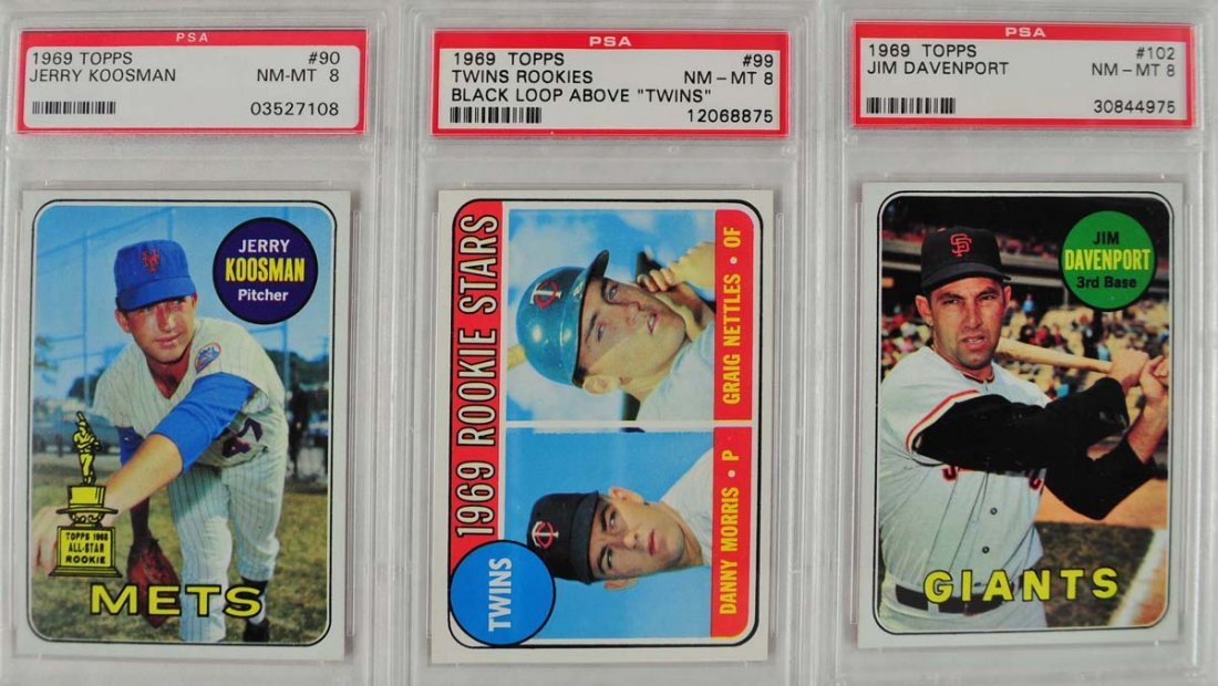 11 1969 Topps Baseball Cards PSA Graded 8 - 5