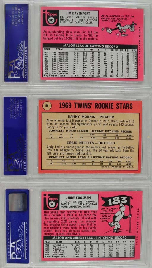 11 1969 Topps Baseball Cards PSA Graded 8 - 6