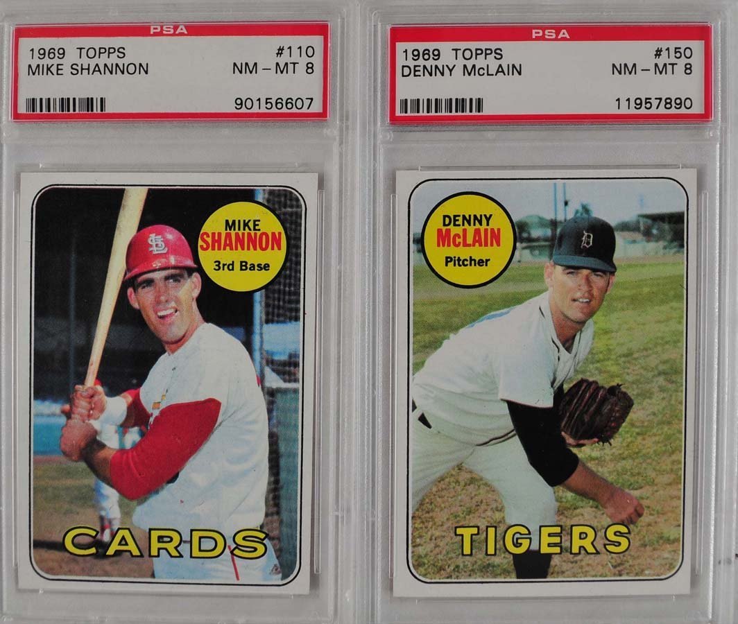 11 1969 Topps Baseball Cards PSA Graded 8 - 7
