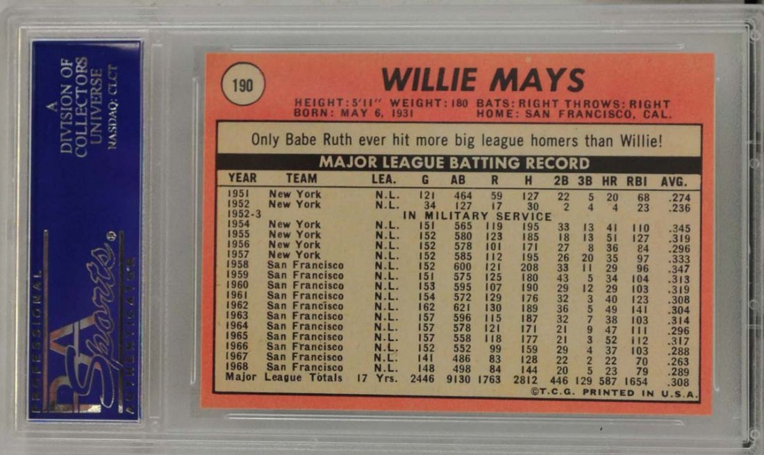 1969 Topps Willie Mays PSA Graded 8 - 2