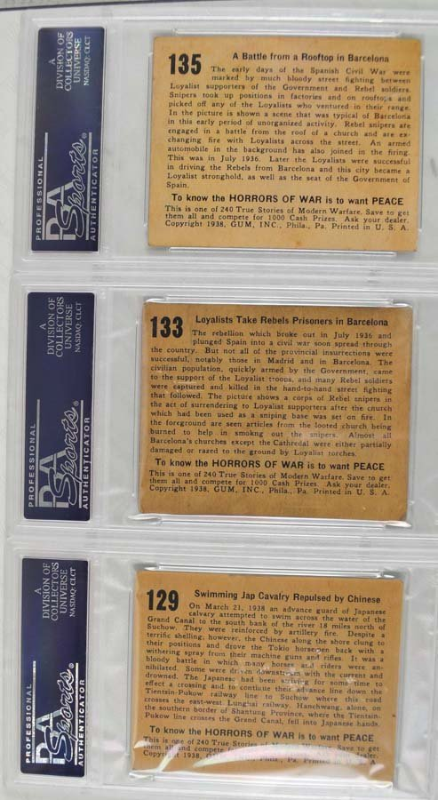 74 1938 Horrors of War Graded cards - 2