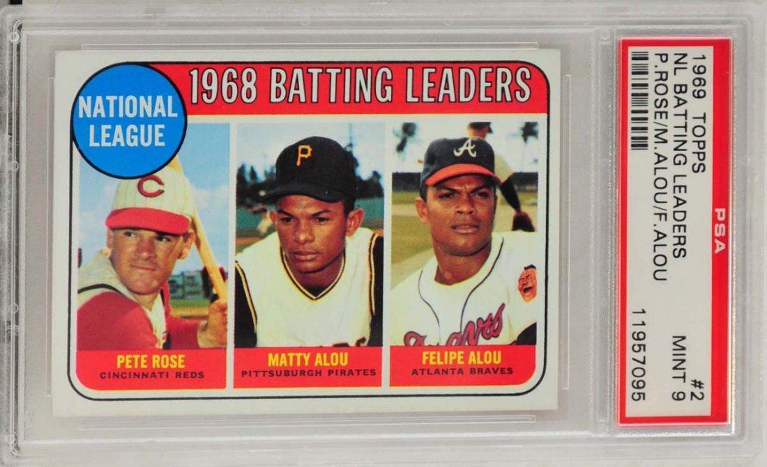 1969 Topps Leaders Alou/Rose PSA Graded 9