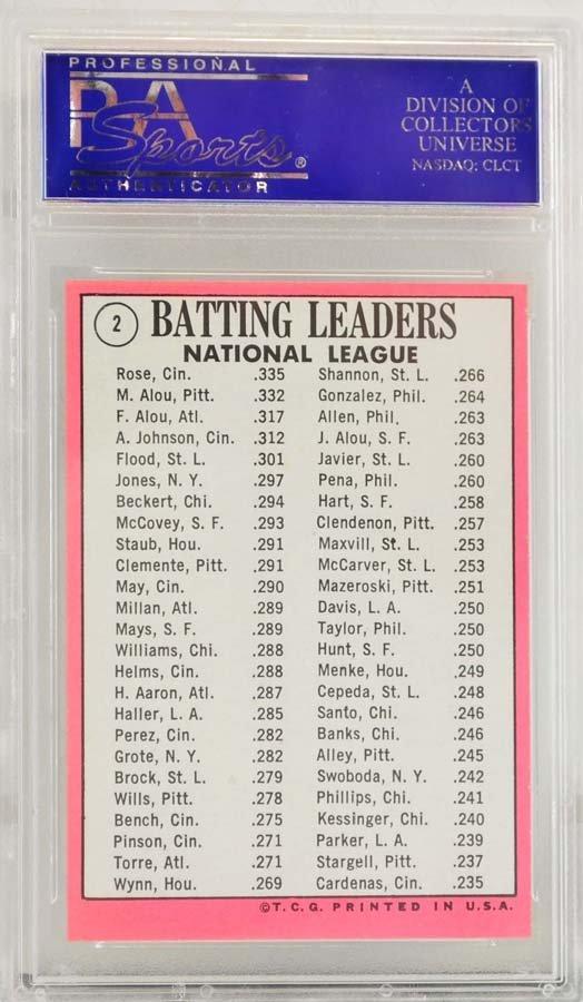 1969 Topps Leaders Alou/Rose PSA Graded 9 - 2