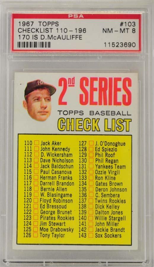 1967 Topps Checklist 110-196 McCauliffe PSA 8
