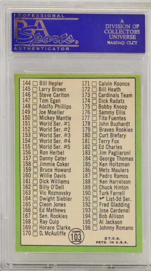 1967 Topps Checklist 110-196 McCauliffe PSA 8 - 2