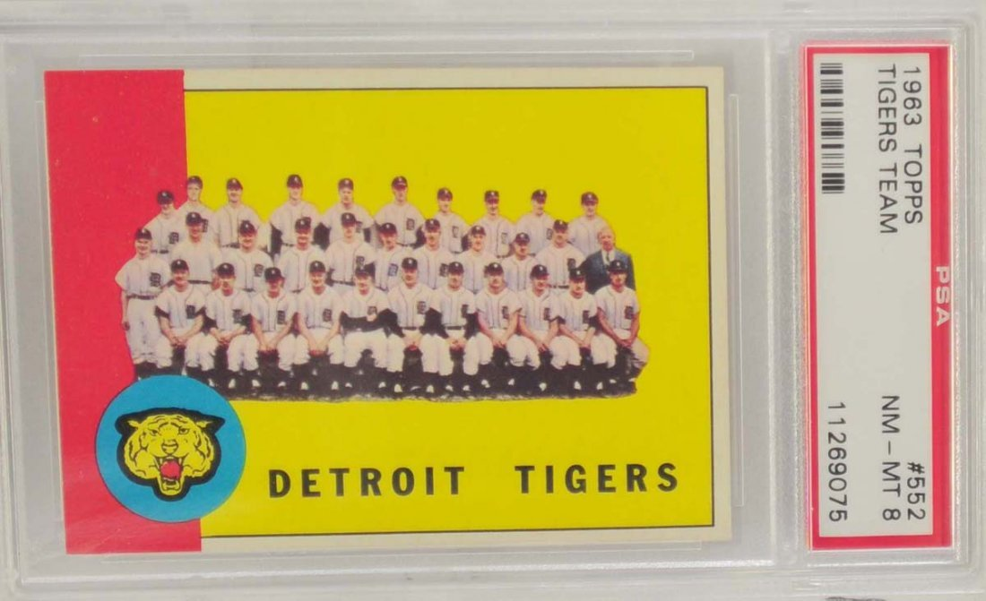 1963 Topps Tigers Team PSA 8