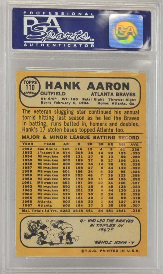 1968 Topps Hank Aaron PSA 7 - 2