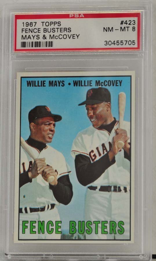 1967 Topps Fence Busters Mays/McCovey PSA 8