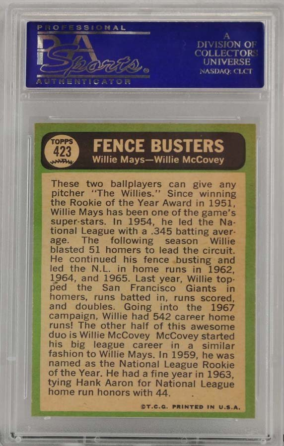 1967 Topps Fence Busters Mays/McCovey PSA 8 - 2