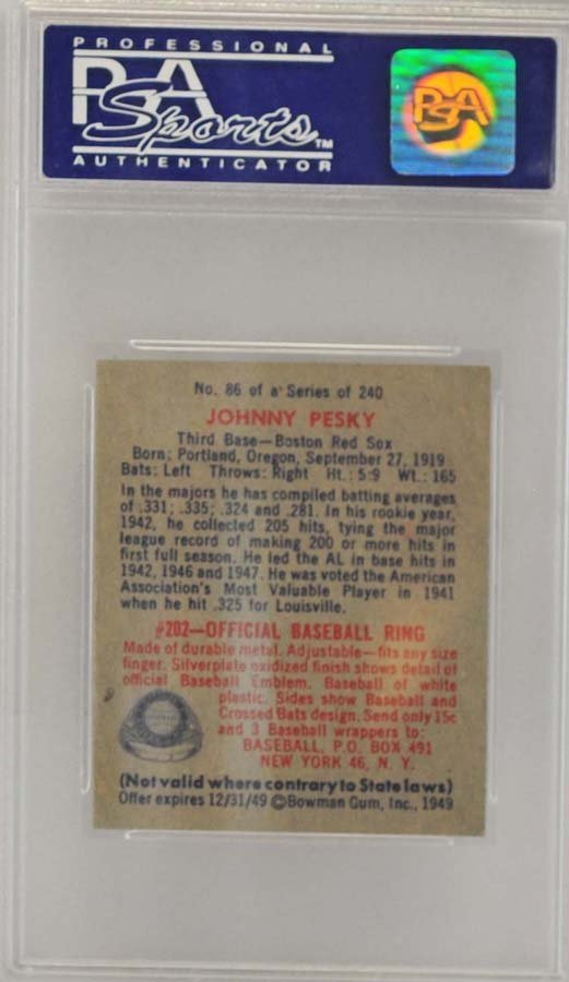 1949 Bowman Johnny Pesky PSA 8 - 2